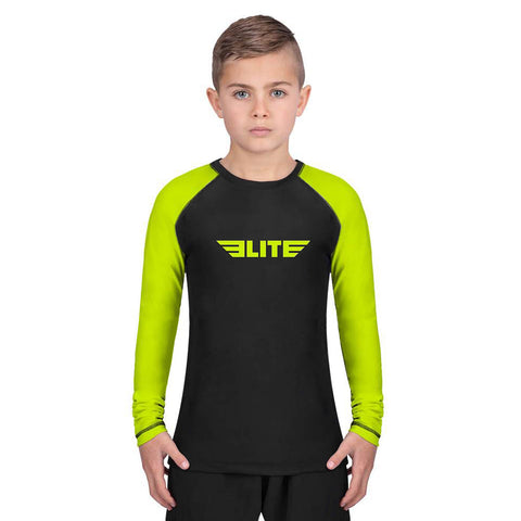 Elite Sports Standard Hi-Viz/Black Long Sleeve Kids boxing Rash Guard