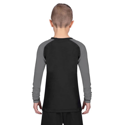 Elite Sports Standard Gray/Black Long Sleeve Kids Muay Thai Rash Guard