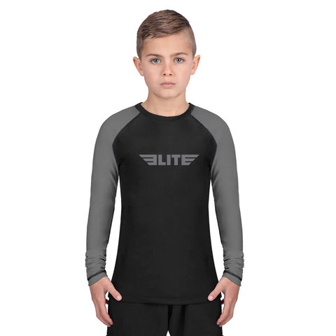 Elite Sports Standard Gray/Black Long Sleeve Kids MMA Rash Guard