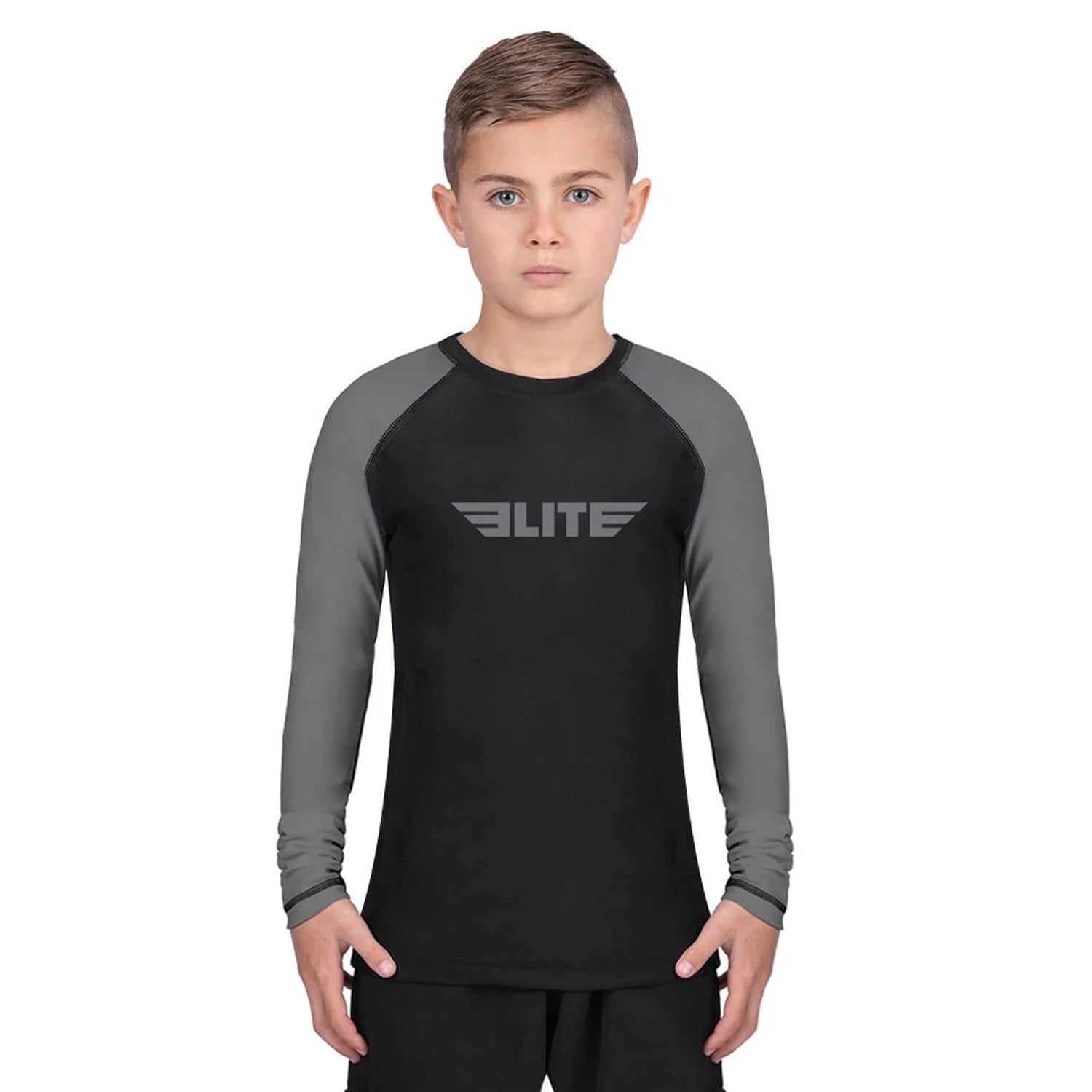 Elite Sports Standard Gray/Black Long Sleeve Kids BJJ Rash Guard