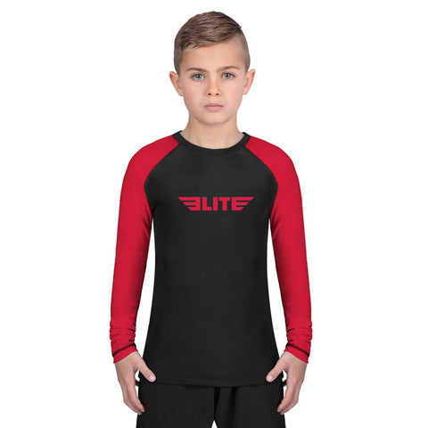 Elite Sports Standard Red/Black Long Sleeve Kids boxing Rash Guard