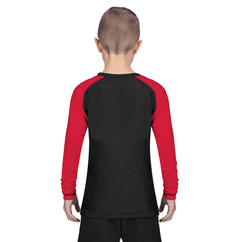 Elite Sports Standard Red/Black Long Sleeve Kids Training Rash Guard