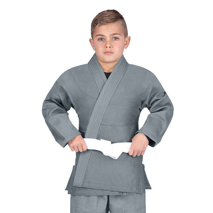 Elite Sports Essential Lightweight Preshrunk Gray Kids Brazilian Jiu Jitsu BJJ Gi With Free White Belt