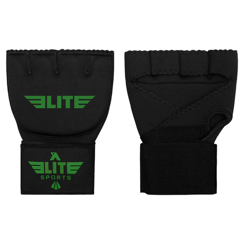 Elite Sports Black/Green Cross Muay Thai Quick Gel Hand Wraps