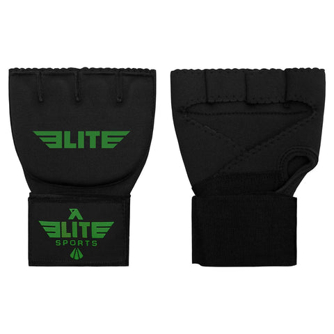 Elite Sports Black/Green Cross MMA Quick Gel Hand Wraps