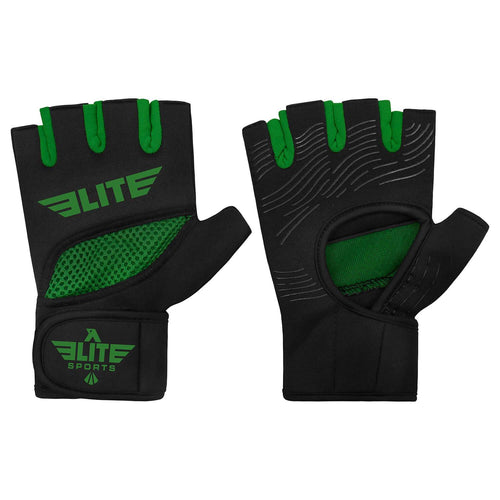 Elite Sports Black/Green Cross MMA Gel Hand Wraps