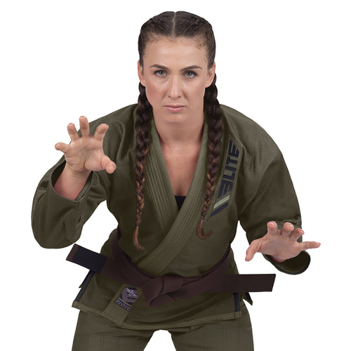 Elite Sports Ultra Light Preshrunk Military Green Women Brazilian Jiu Jitsu BJJ Gi With Free White Belt