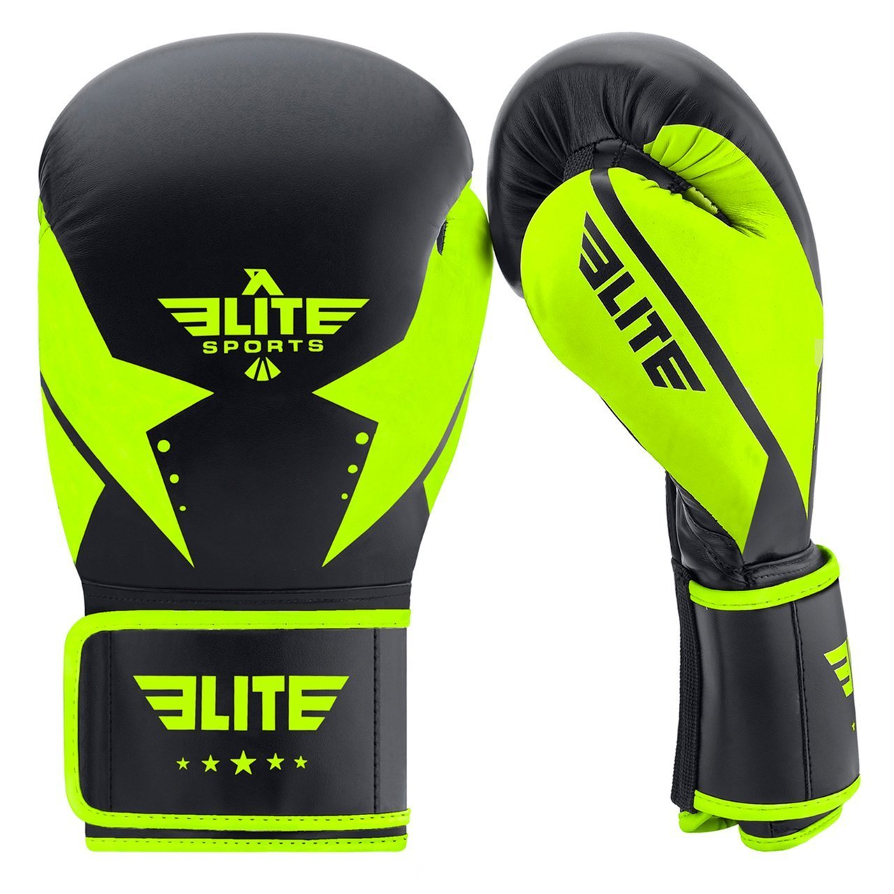 Elite Sports Star Series Black/Hi Viz Adult Boxing Gloves
