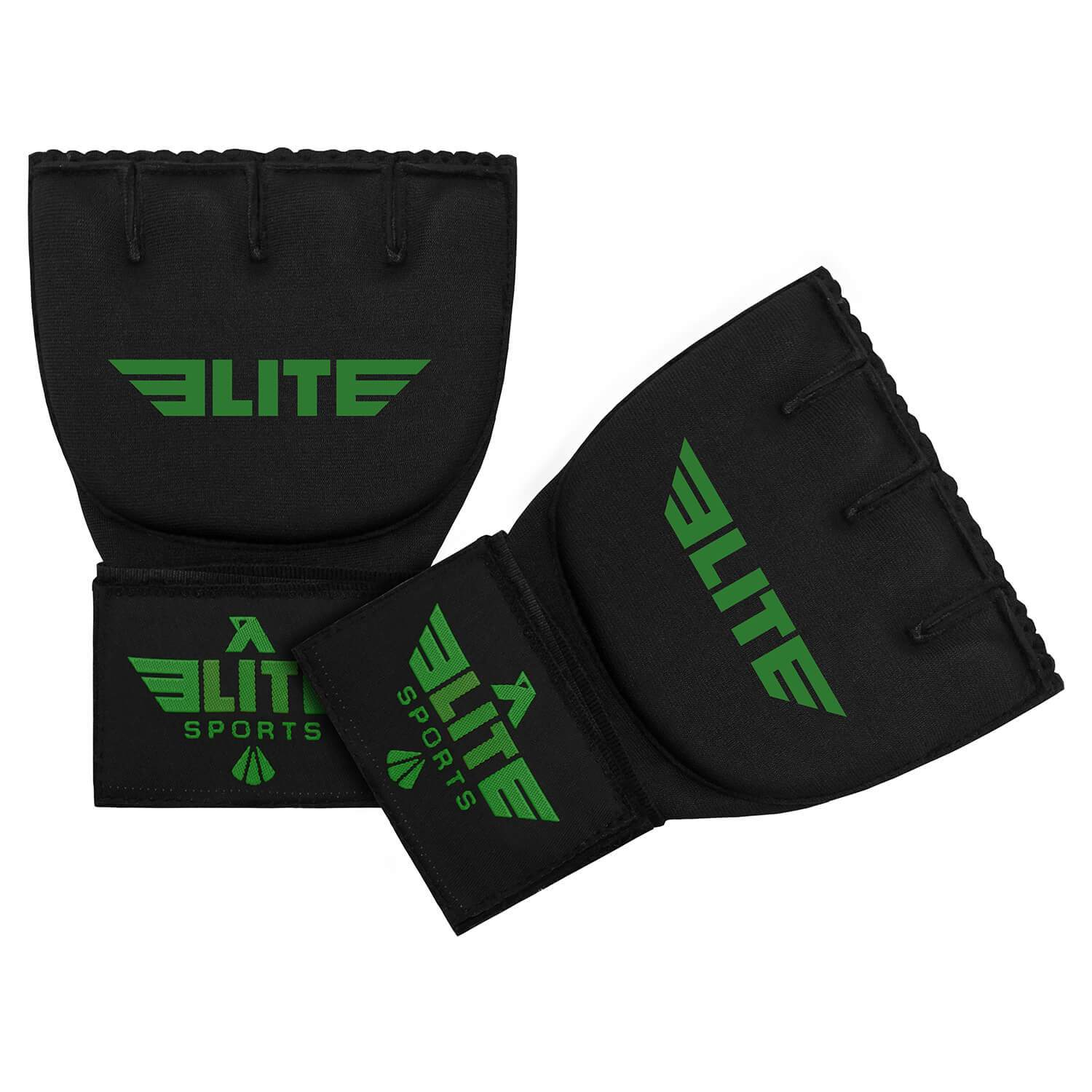 Load image into Gallery viewer, Elite Sports Black/Green Cross MMA Quick Gel Hand Wraps