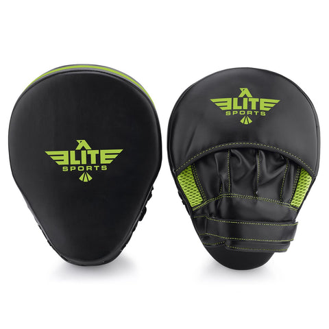 Elite Sports Essential Curved Black/Hi Viz Muay Thai Punching Mitts
