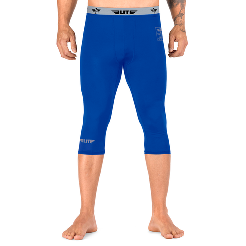 Elite Sports Three Quarter Blue Compression Bjj Spat Pants