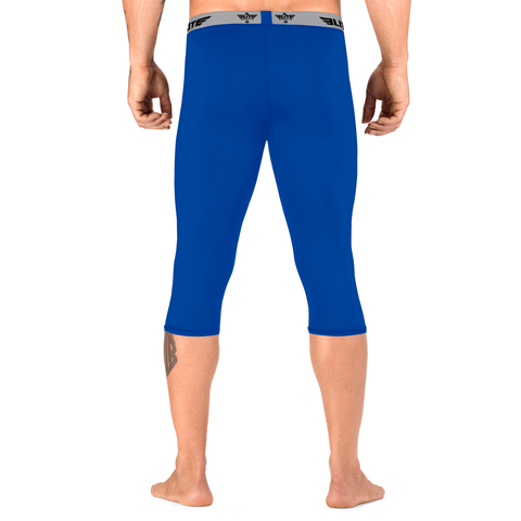 Elite Sports Three Quarter Blue Compression Wrestling Spat Pants