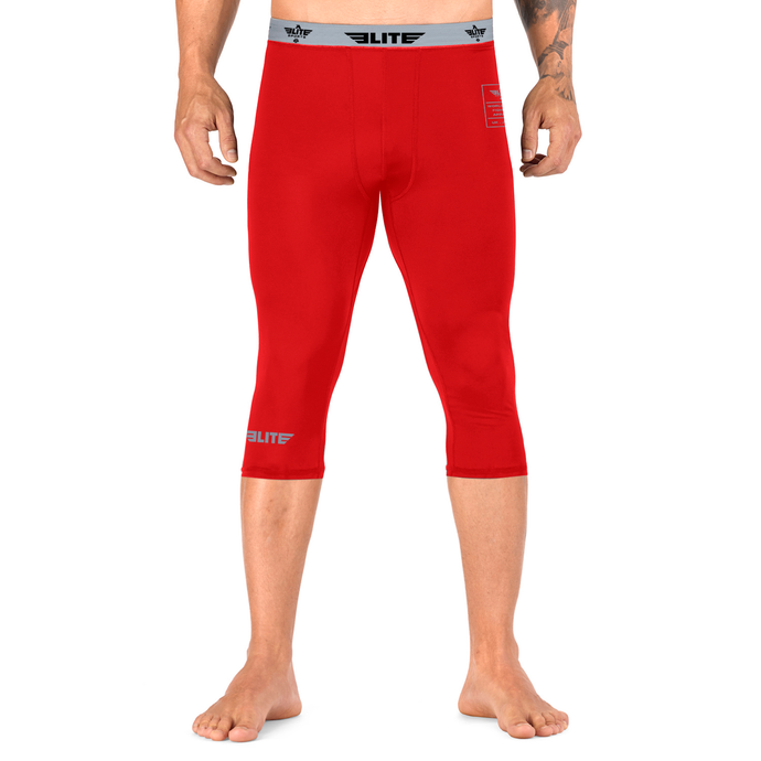 Elite Sports Three Quarter Red Compression Taekwondo Spat Pants
