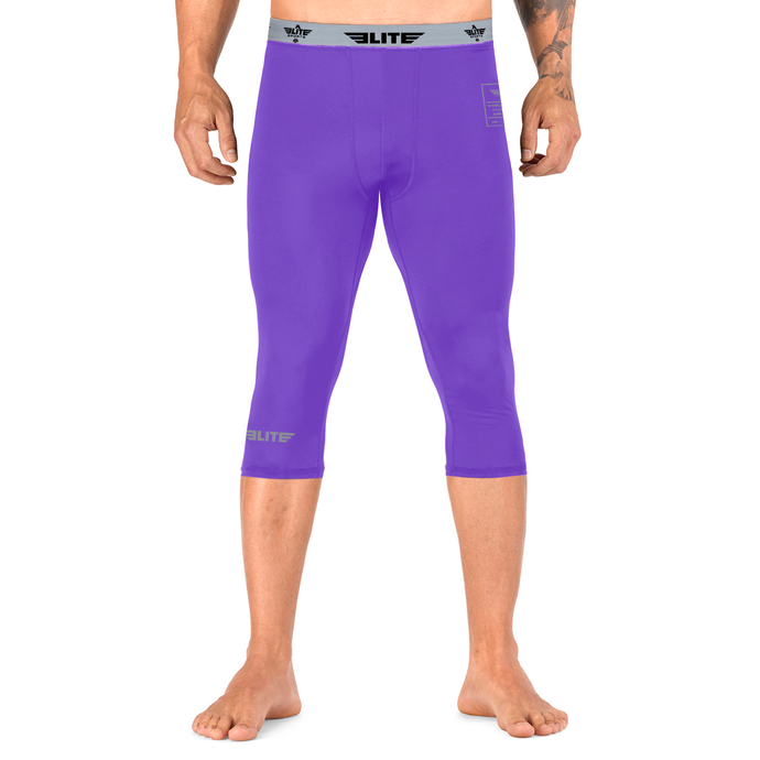 Elite Sports Three Quarter Purple Compression Muay Thai Spat Pants