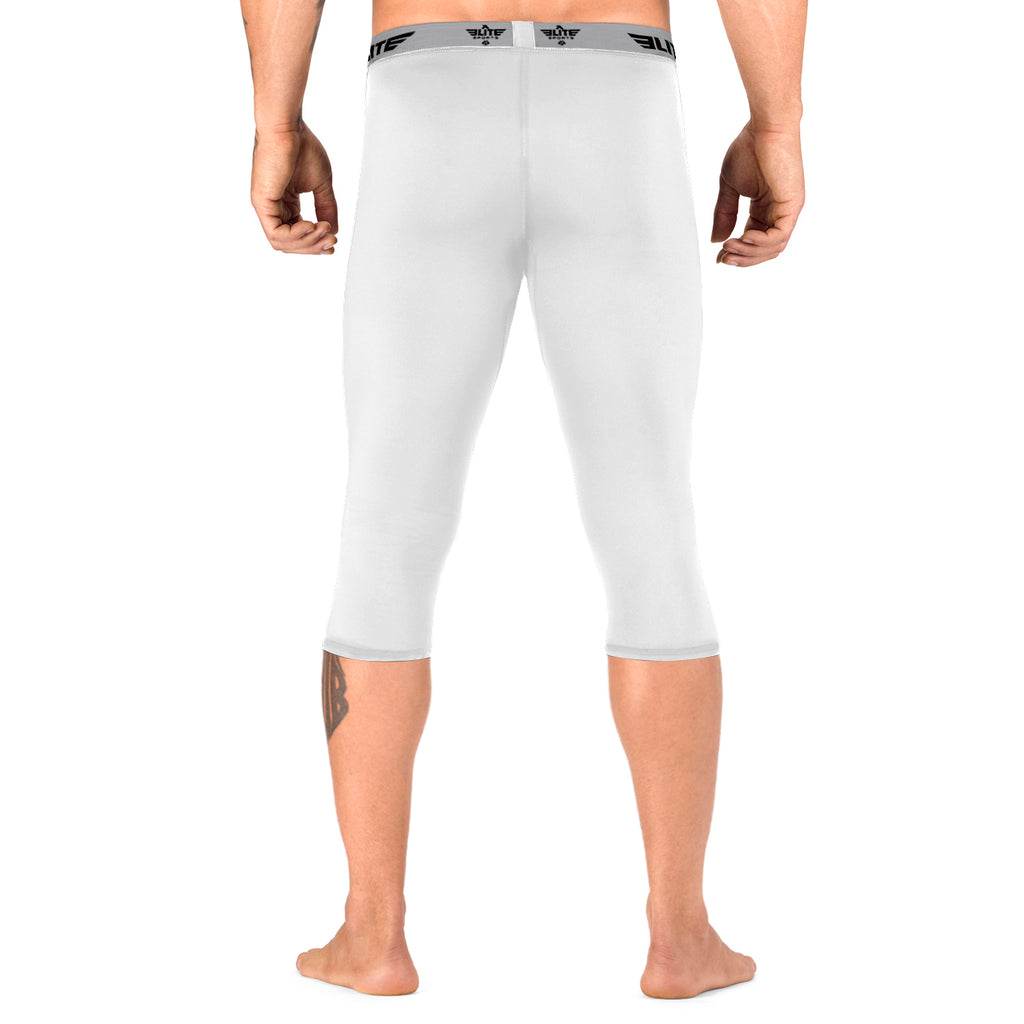 Elite Sports Three Quarter White Compression Training Spat Pants
