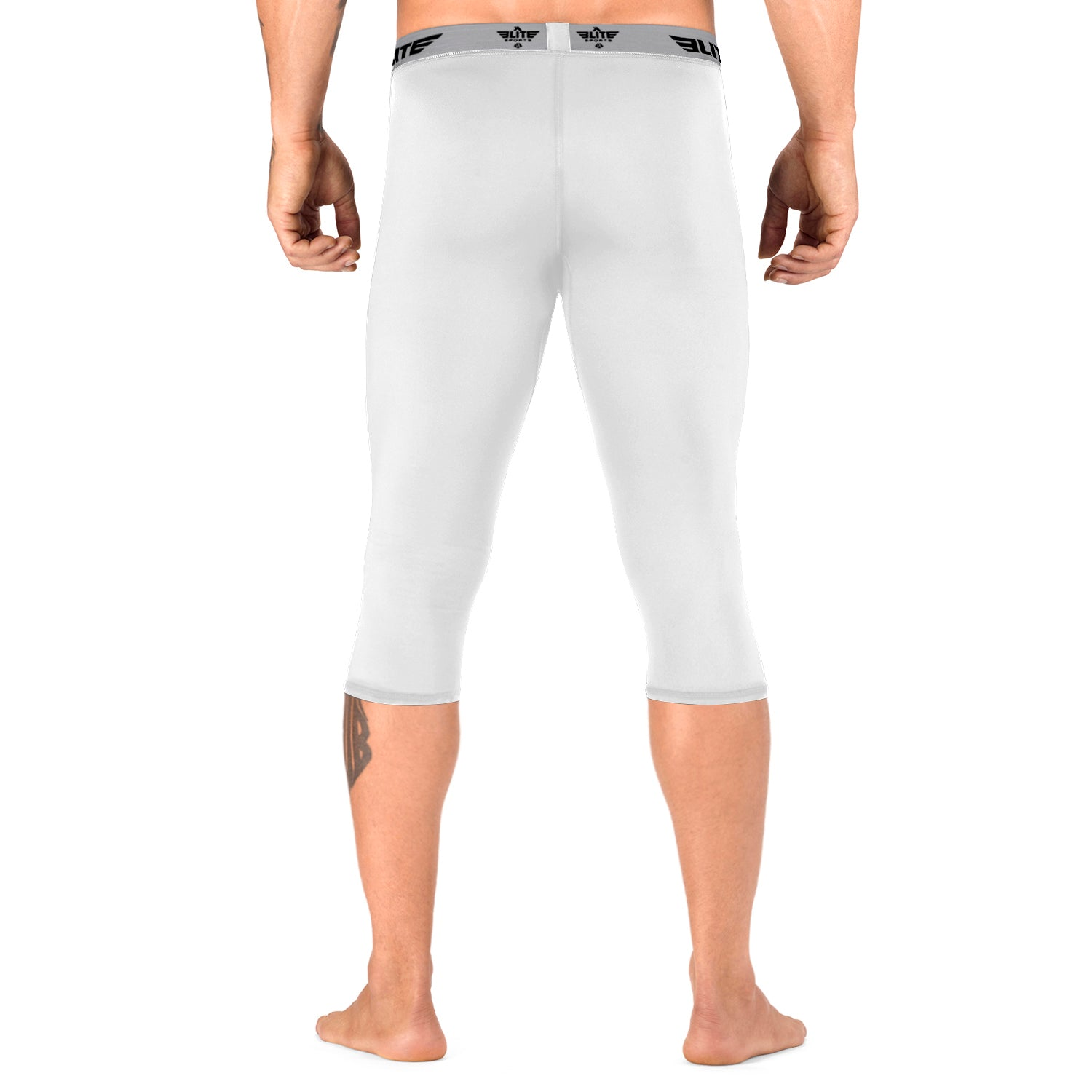Load image into Gallery viewer, Elite Sports Three Quarter White Compression Training Spat Pants