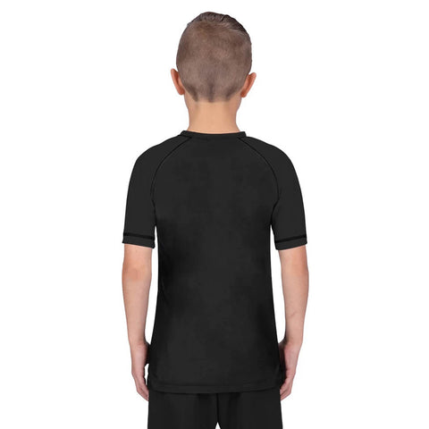 Elite Sports Standard Black Short Sleeve Kids boxing Rash Guard
