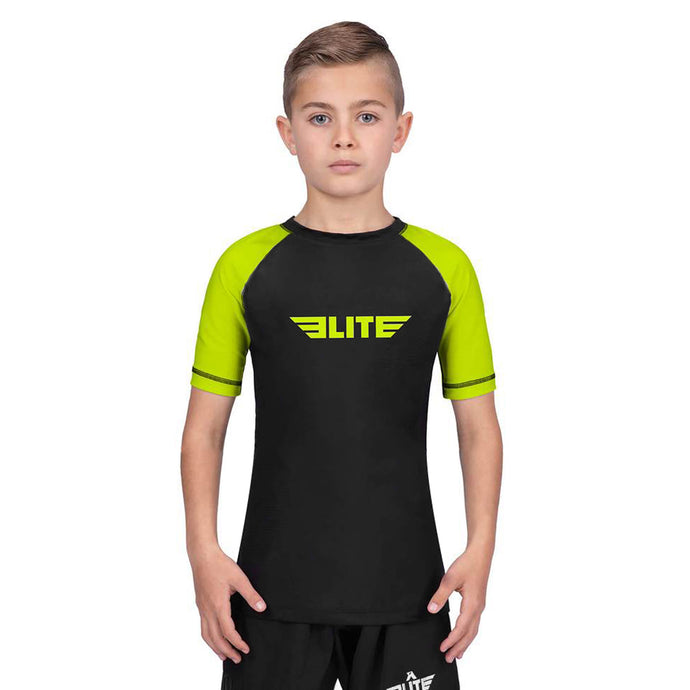 Elite Sports Standard Hi-Viz/Black Short Sleeve Kids Judo Rash Guard