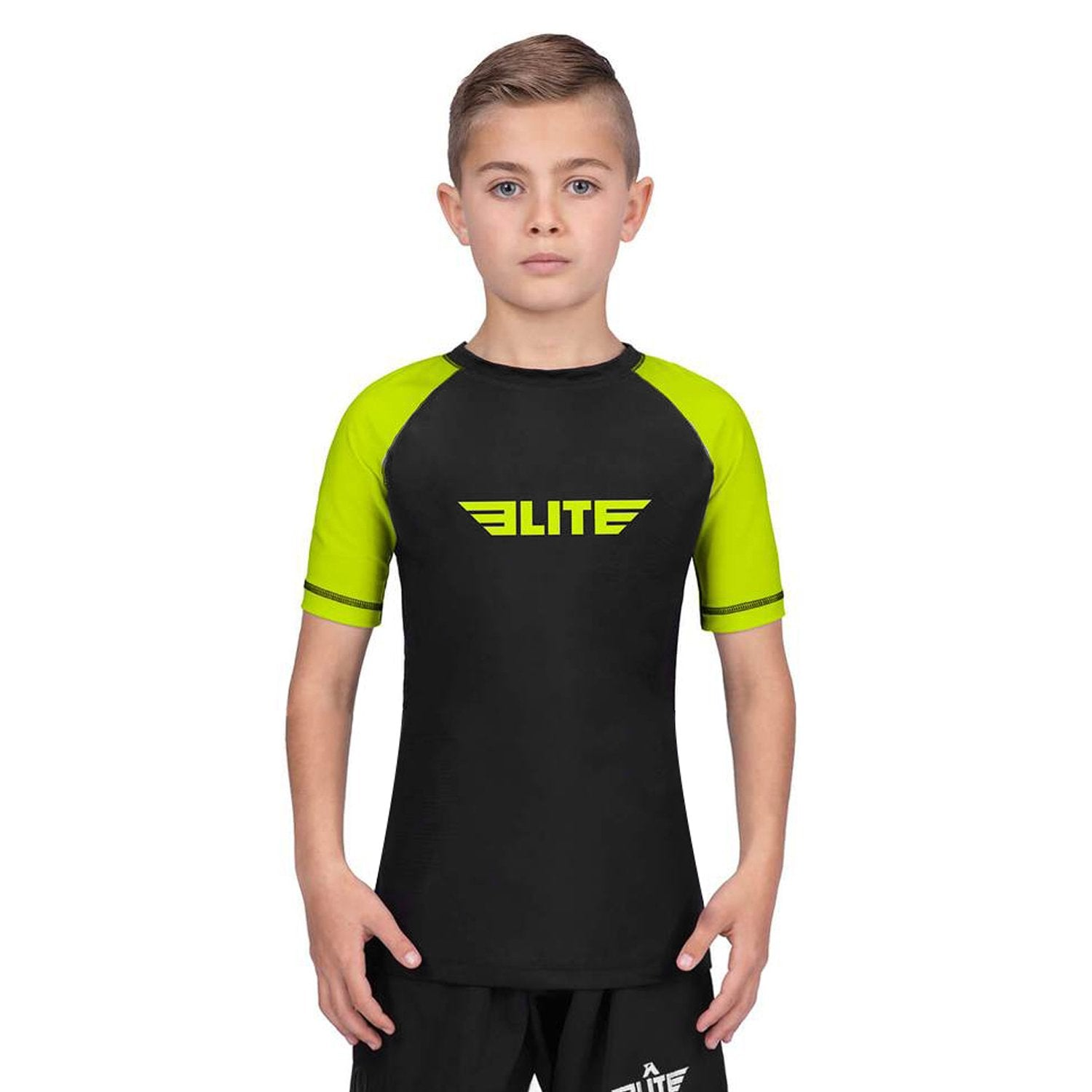 Elite Sports Standard Hi-Viz/Black Short Sleeve Kids Training Rash Guard