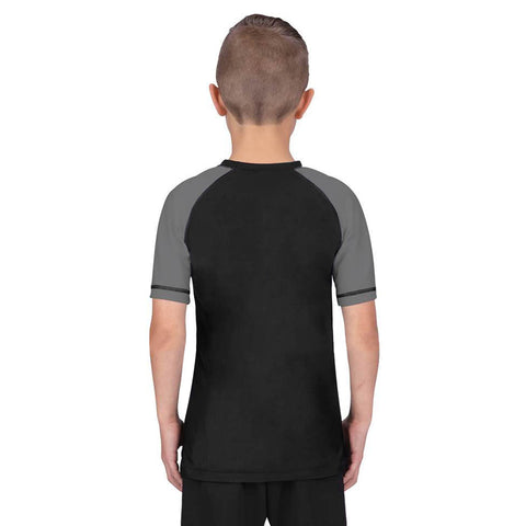 Elite Sports Standard Gray/Black Short Sleeve Kids MMA Rash Guard