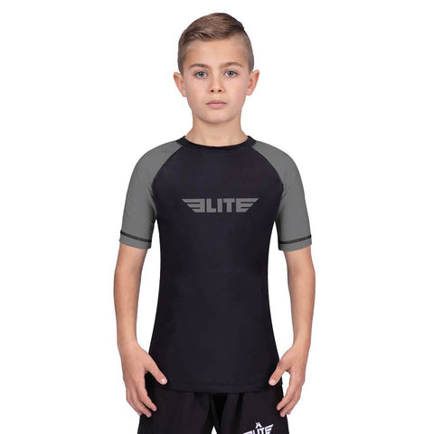Elite Sports Standard Gray/Black Short Sleeve Kids Training Rash Guard