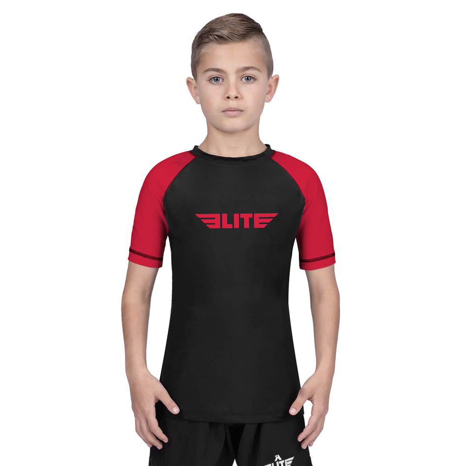 Elite Sports Standard Red/Black Short Sleeve Kids Judo Rash Guard