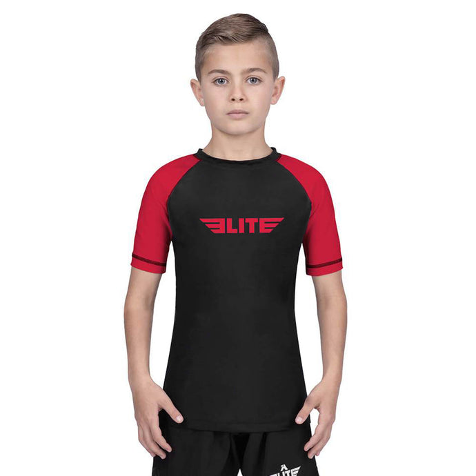 Elite Sports Standard Red/Black Short Sleeve Kids Muay Thai Rash Guard