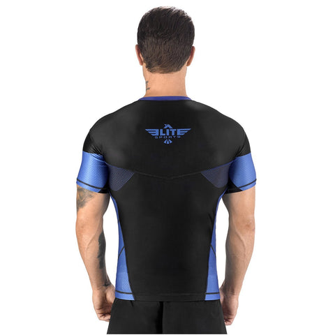 Elite Sports Honey Comb Sublimation Black/Blue Short Sleeve Muay Thai Rash Guard