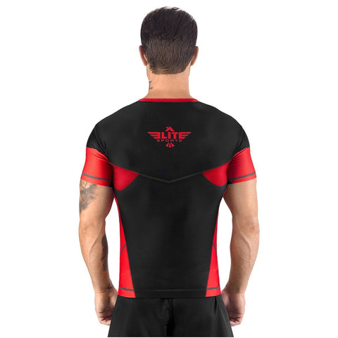 Elite Sports Honey Comb Sublimation Black/Red Short Sleeve Muay Thai Rash Guard