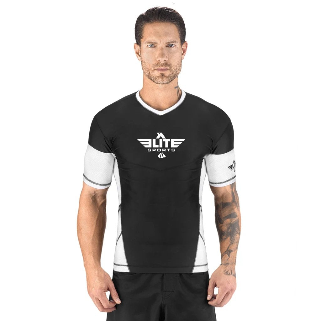 Elite Sports Honey Comb Sublimation Black/White Short Sleeve Wrestling Rash Guard