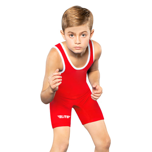 Elite Sports Standard Series Red Kids Wrestling Singlets