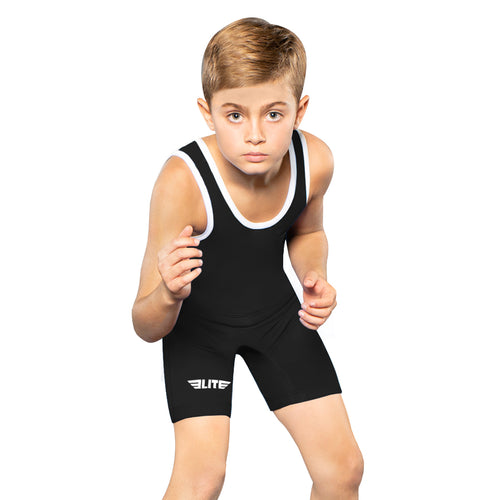Elite Sports Standard Series Black Kids Wrestling Singlets
