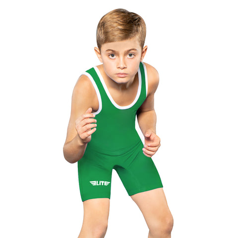 Elite Sports Standard Series Green Kids Wrestling Singlets