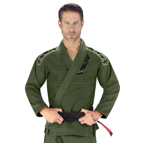 Elite Sports Ultra Light Preshrunk Green Adult Brazilian Jiu Jitsu BJJ Gi With Free White Belt