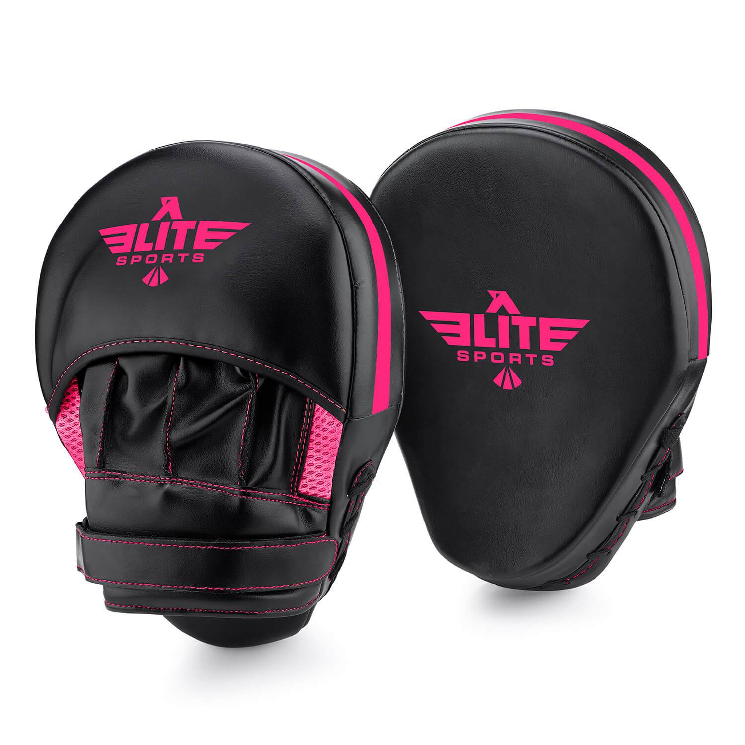 Load image into Gallery viewer, Elite Sports Essential Curved Black/Pink MMA Punching Mitts