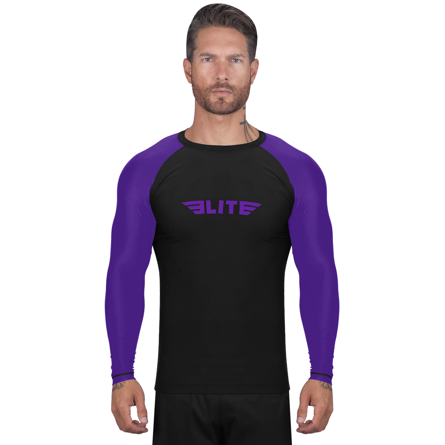 Elite Sports Standard Black/Purple Long Sleeve Training Rash Guard
