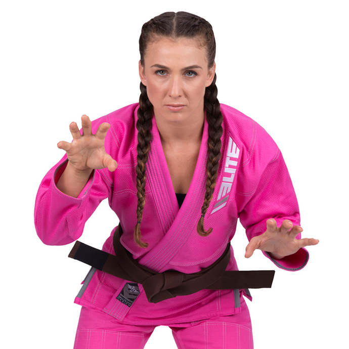 Elite Sports Ultra Light Preshrunk Pink Women Brazilian Jiu Jitsu BJJ Gi With Free White Belt