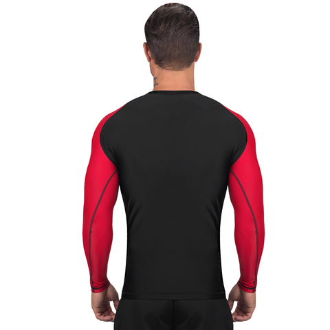 Elite Sports Standard Black/Red Long Sleeve Judo Rash Guard
