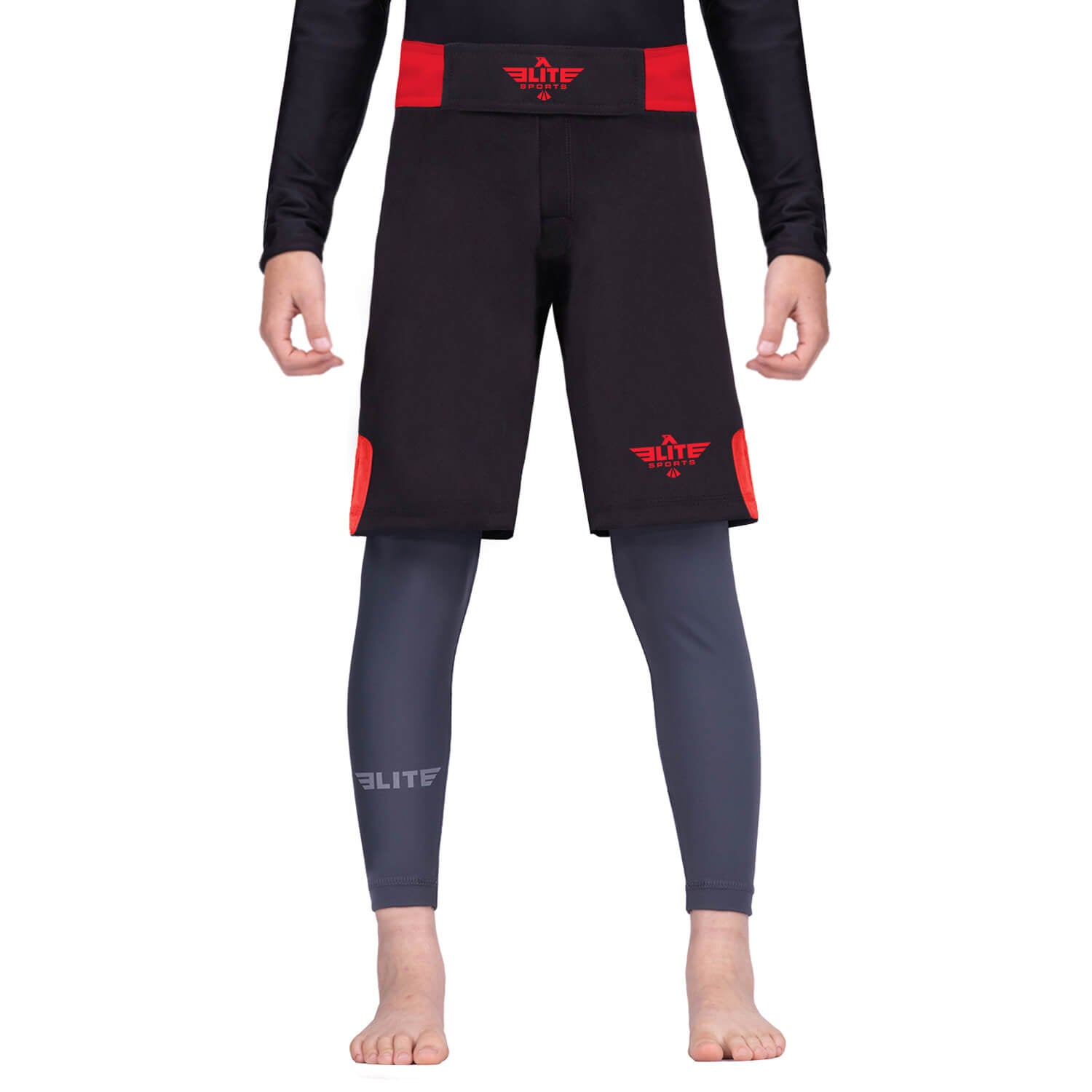 Elite Sports Jack Series Black/Red Kids MMA Shorts