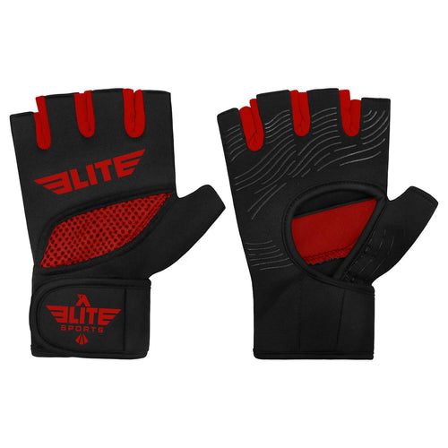 Elite Sports Black/Red Cross MMA Gel Hand Wraps