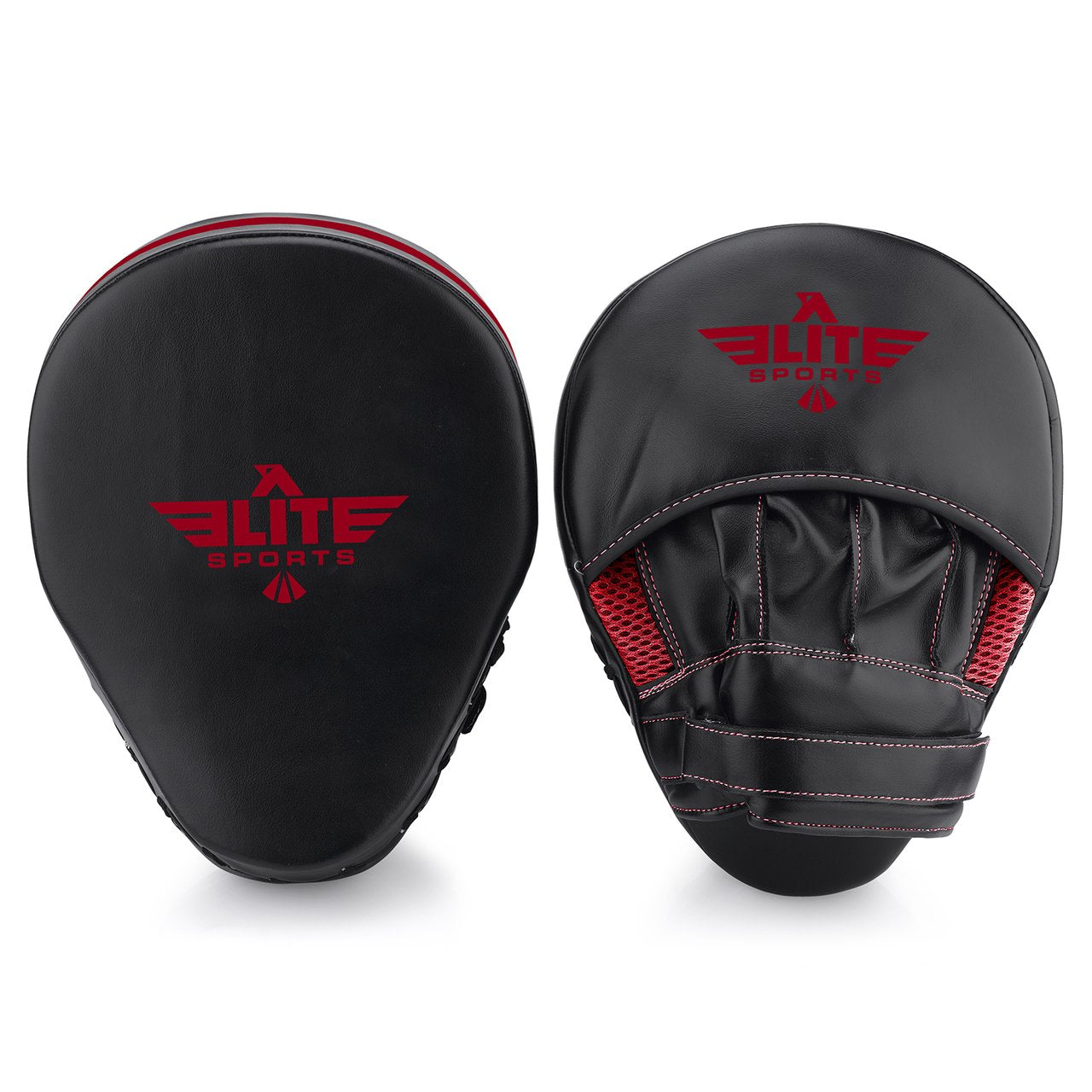 Elite Sports Essential Curved Black/Red Muay Thai Punching Mitts