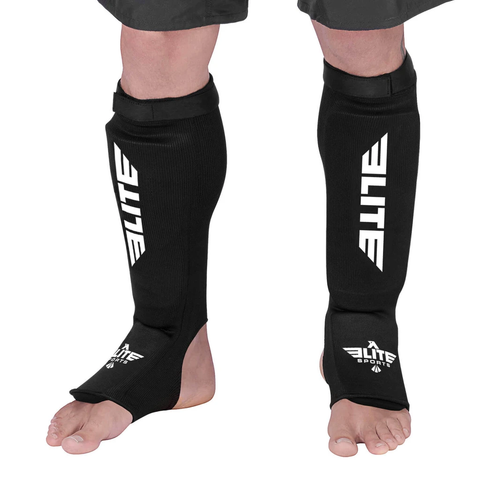 Elite Sports Standard Black Muay Thai Shin Guards