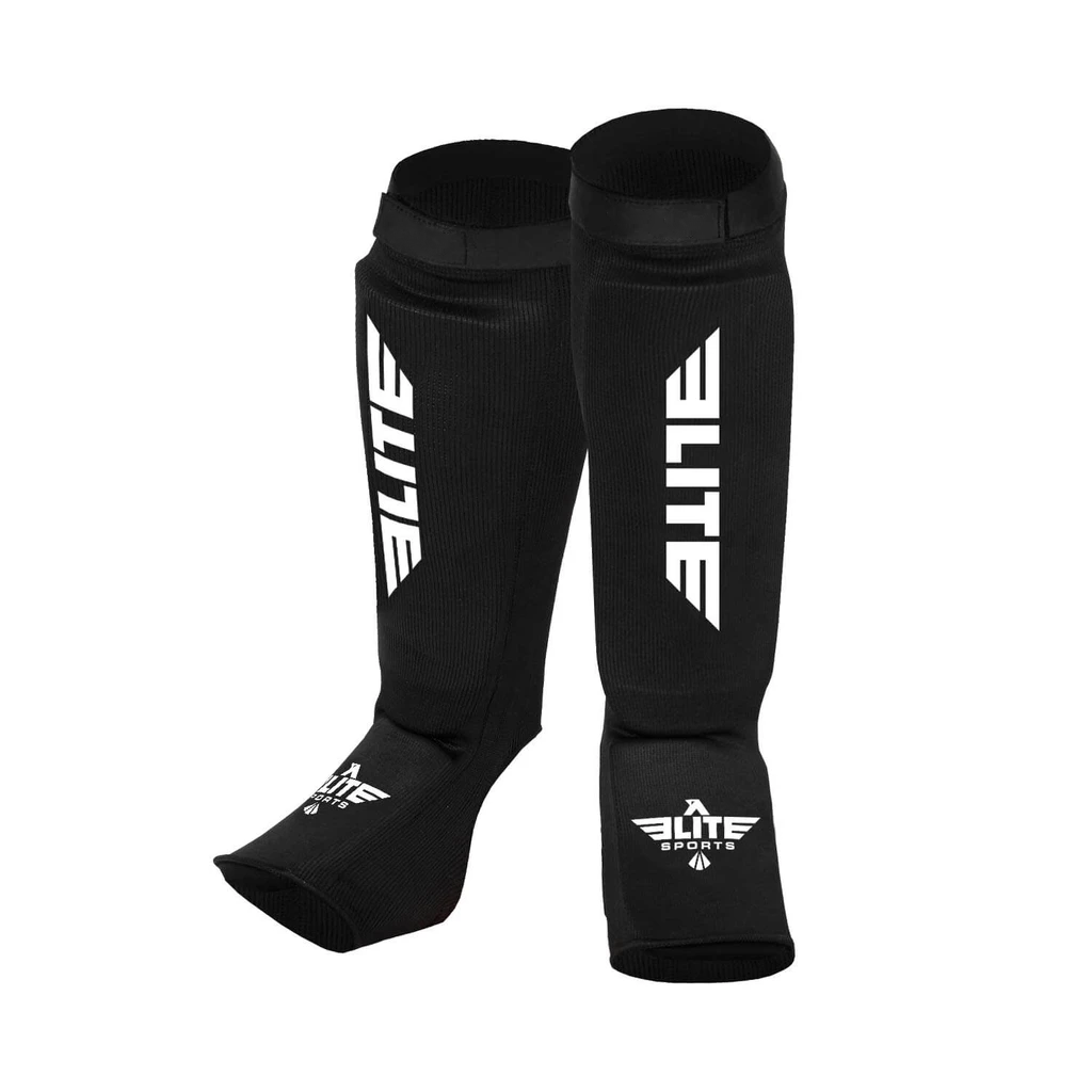 Elite Sports Standard Black MMA Shin Guards