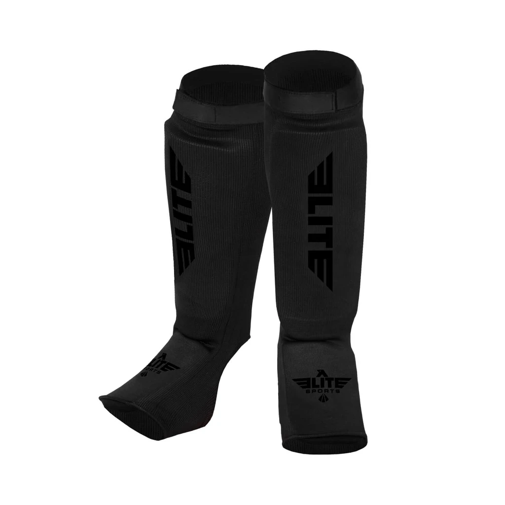 Elite Sports Standard Black/Black Muay Thai Shin Guards