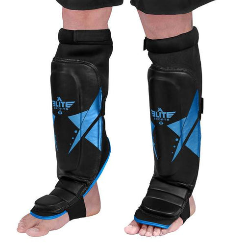 Elite Sports Star Series Black/Blue Karate Shin Guards