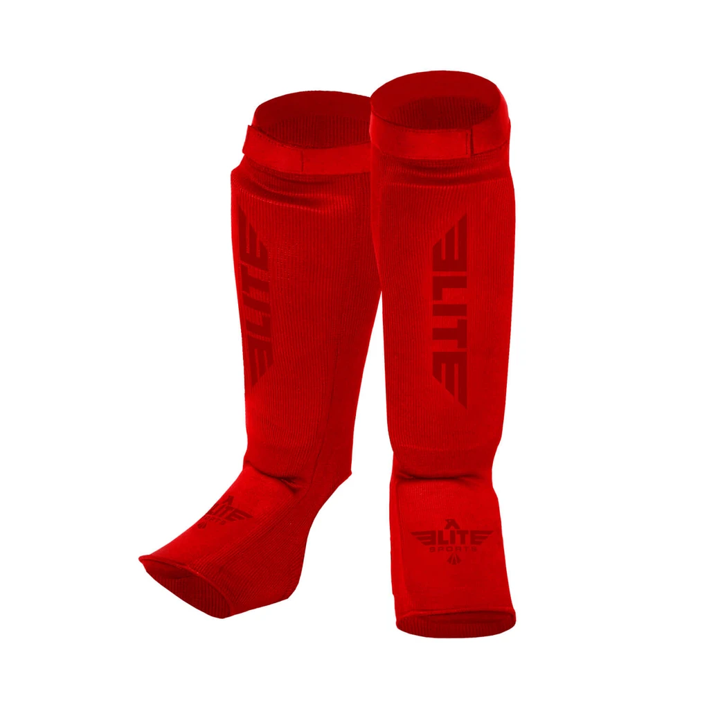 Elite Sports Standard Red Muay Thai Shin Guards