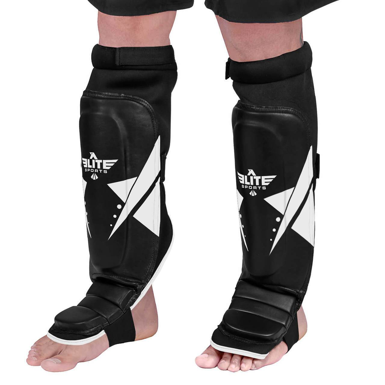 Elite Sports Star Series Black/White Karate Shin Guards