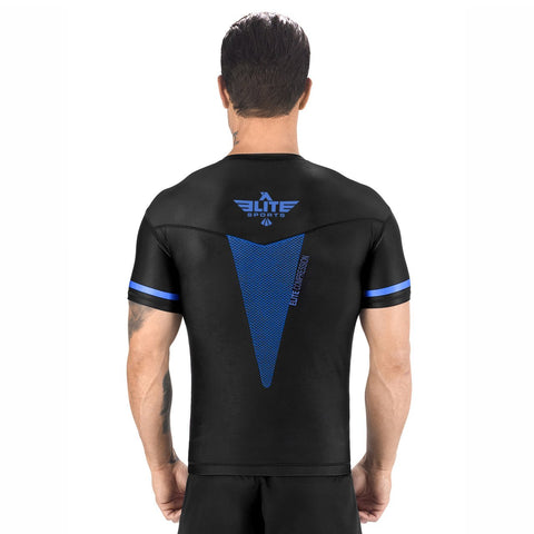 Elite Sports Star Series Sublimation Black/Blue Short Sleeve Muay Thai Rash Guard