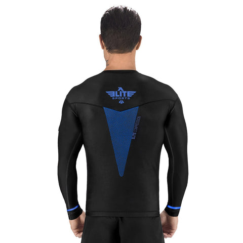 Elite Sports Star Series Sublimation Black/Blue Long Sleeve Brazilian Jiu Jitsu BJJ Rash Guard