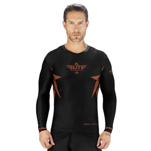 Elite Sports Star Series Sublimation Black/Brown Long Sleeve Brazilian Jiu Jitsu BJJ Rash Guard